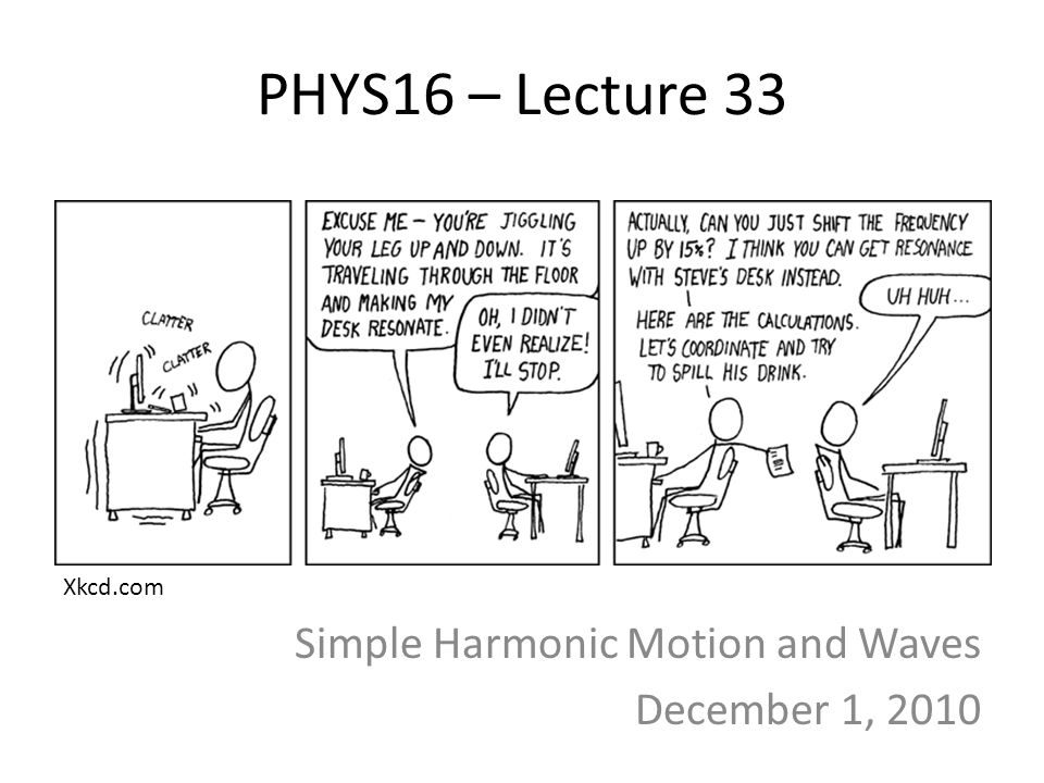 Simple Harmonic Motion and Waves December 1, 2010