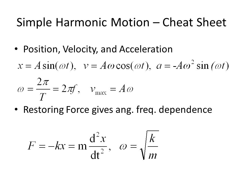 Simple Harmonic Motion – Cheat Sheet
