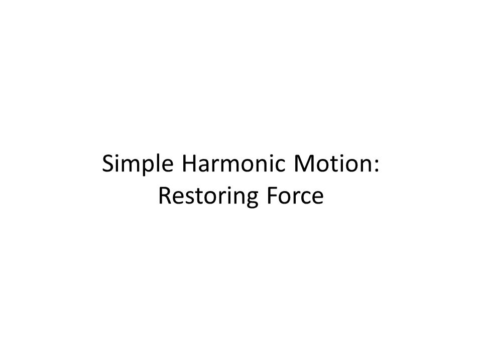 Simple Harmonic Motion: Restoring Force