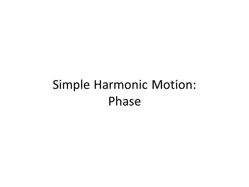 Simple Harmonic Motion: Phase