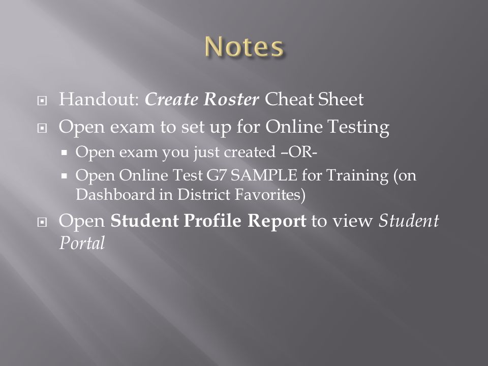 Notes Handout: Create Roster Cheat Sheet