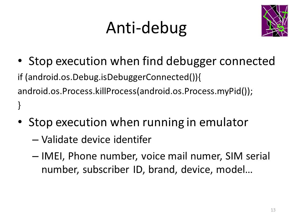 Anti-debug Stop execution when find debugger connected