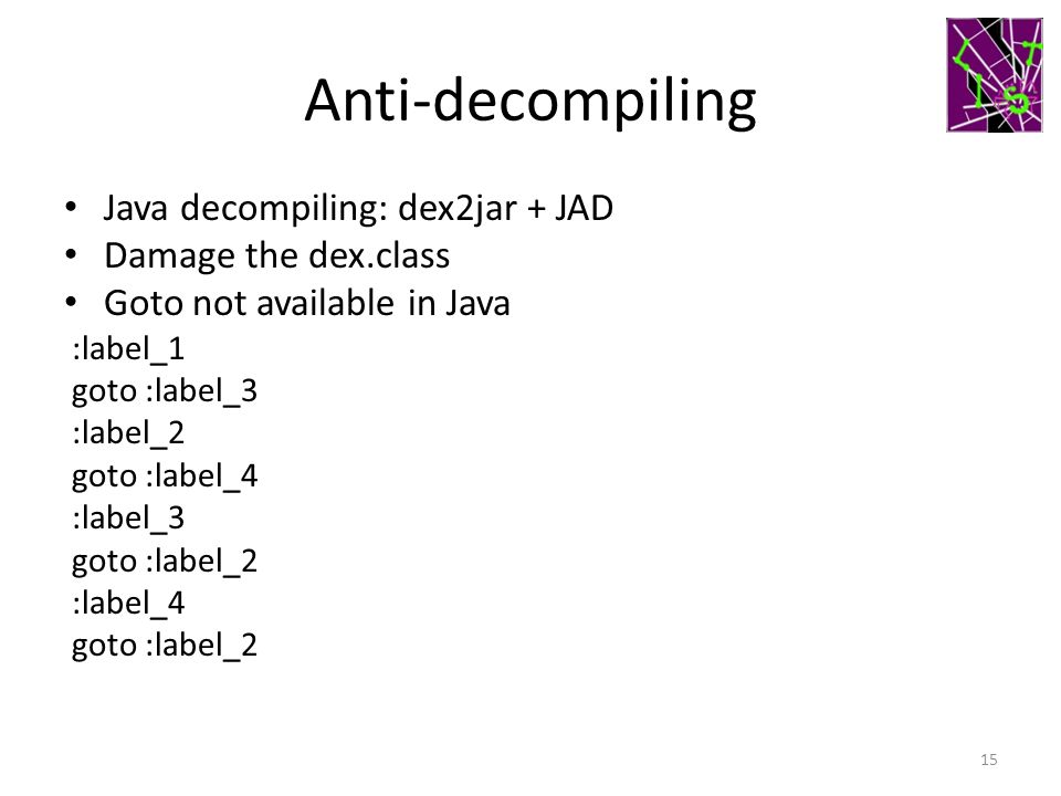 Anti-decompiling Java decompiling: dex2jar + JAD Damage the dex.class