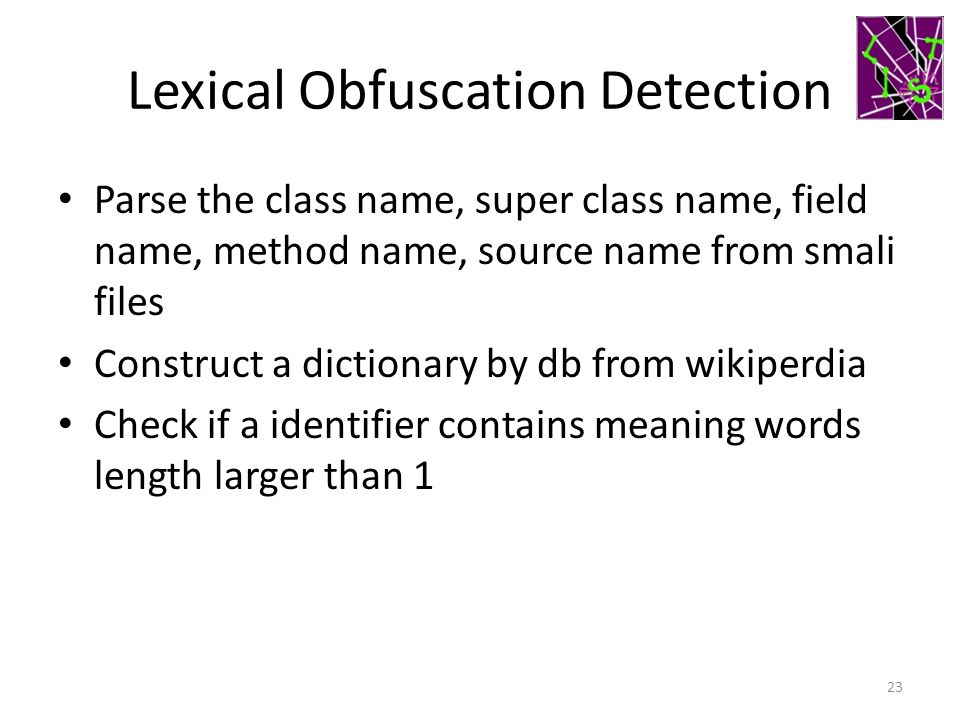 Lexical Obfuscation Detection