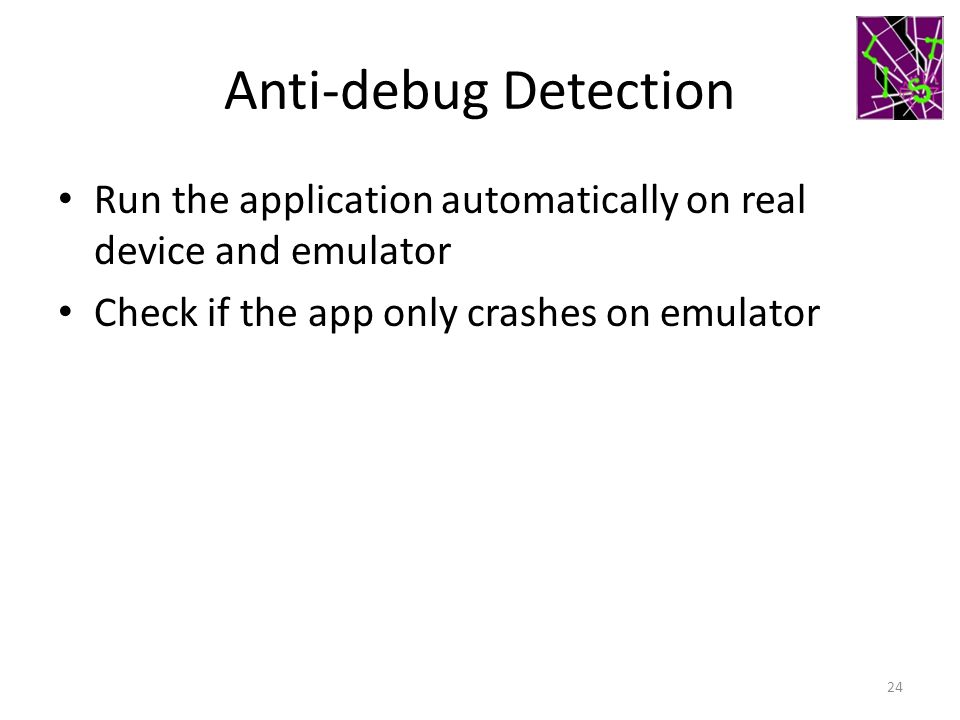 Anti-debug Detection Run the application automatically on real device and emulator.