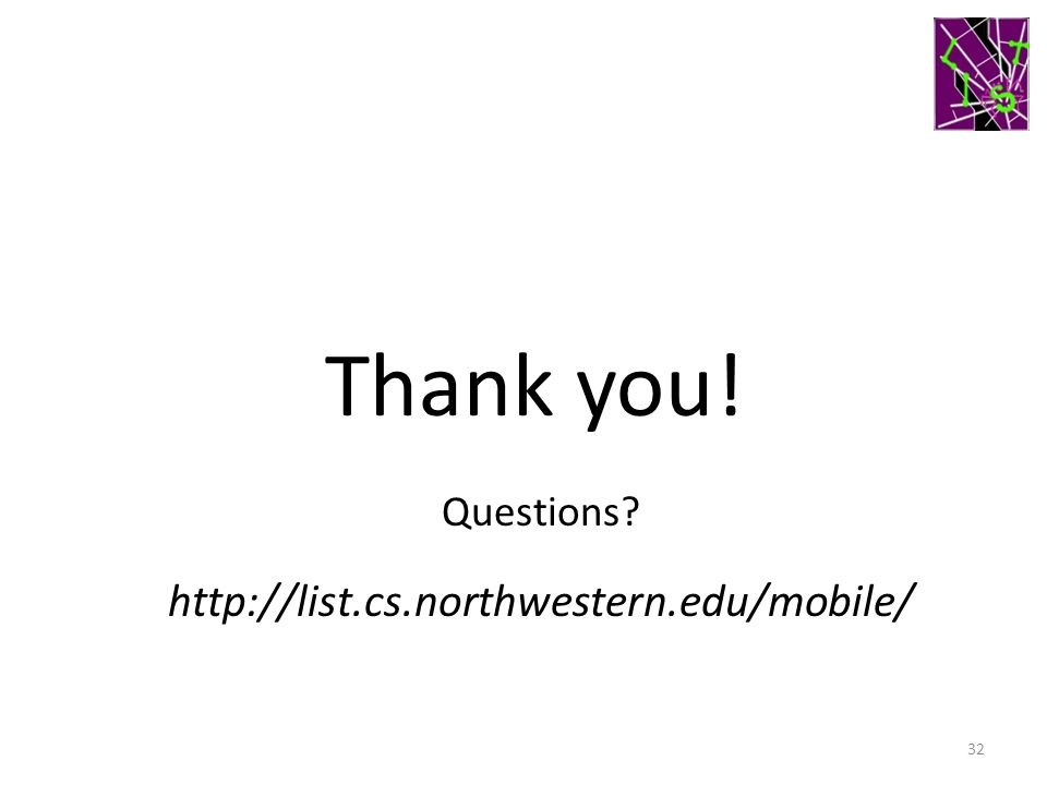 Thank you! Questions http://list.cs.northwestern.edu/mobile/