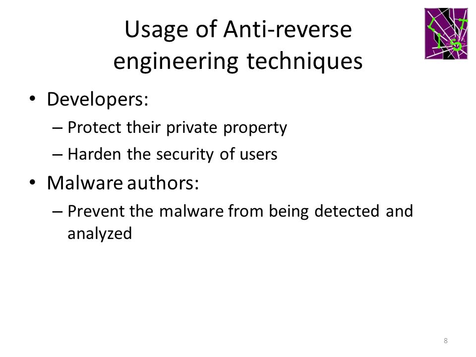 Usage of Anti-reverse engineering techniques