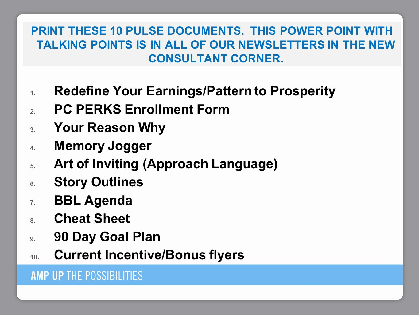 Redefine Your Earnings/Pattern to Prosperity PC PERKS Enrollment Form