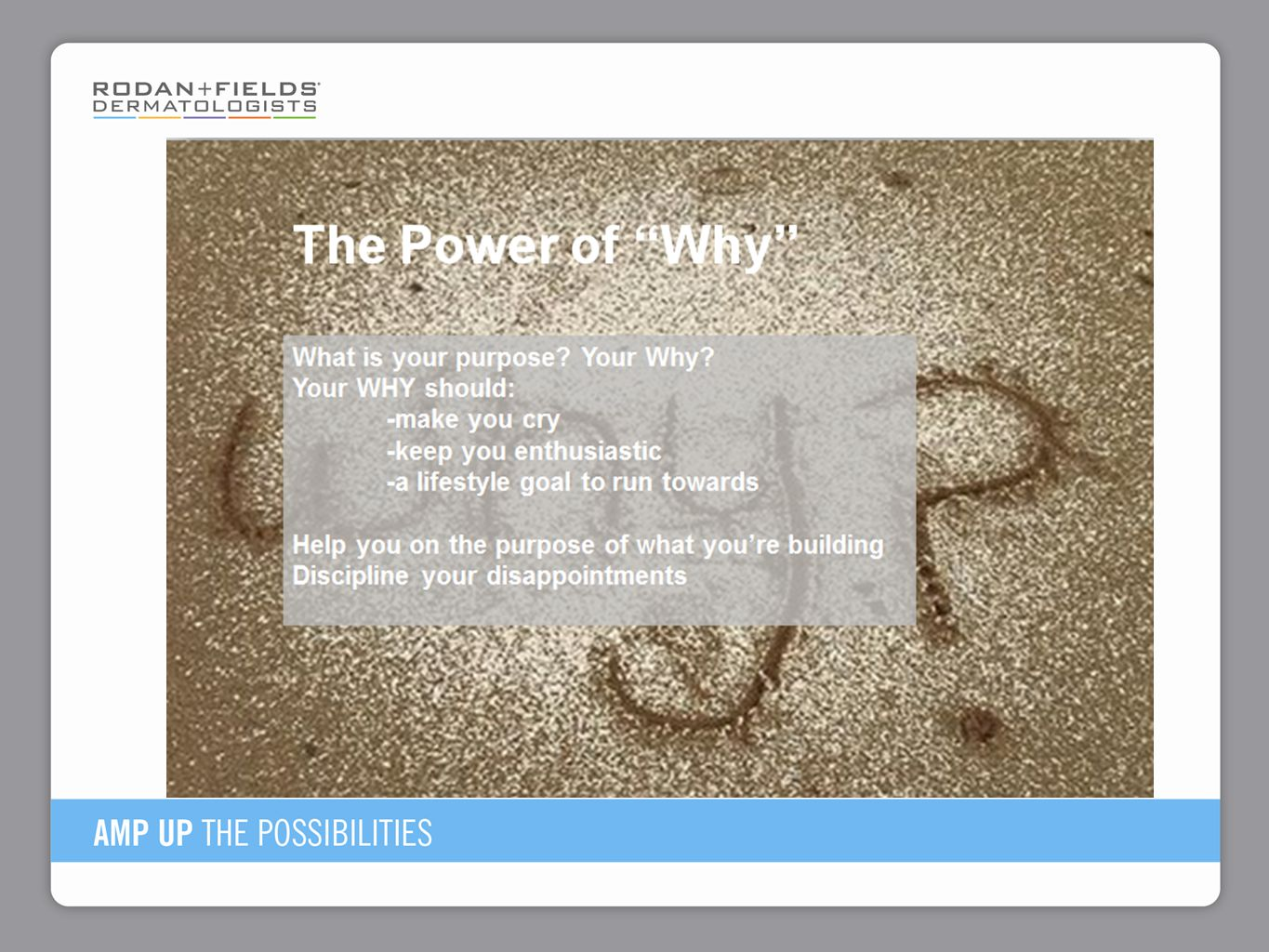 Read this slide You as the sponsor share YOUR WHY