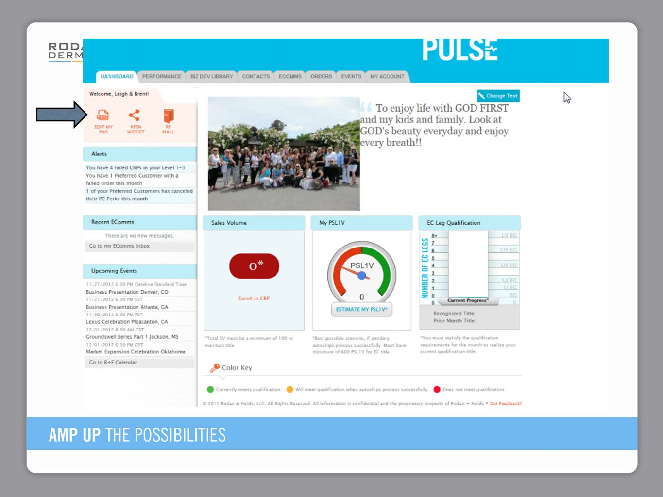The arrow on top left shows you where to edit their personal website and order business cards in PULSE.