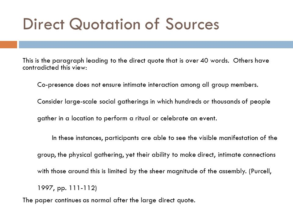 Direct Quotation of Sources
