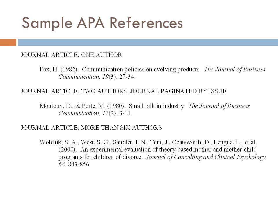 Sample APA References