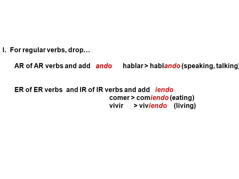 I. For regular verbs, drop…