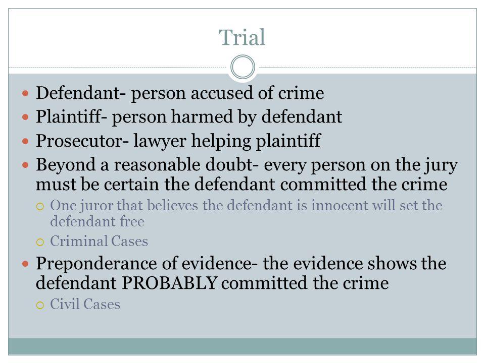 Trial Defendant- person accused of crime