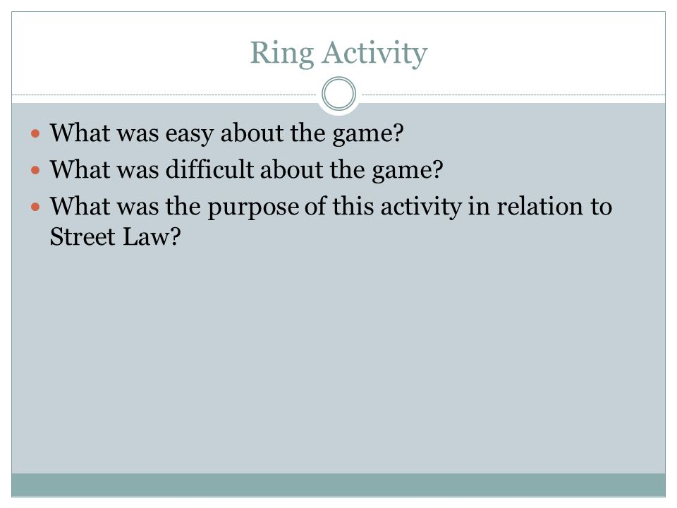 Ring Activity What was easy about the game