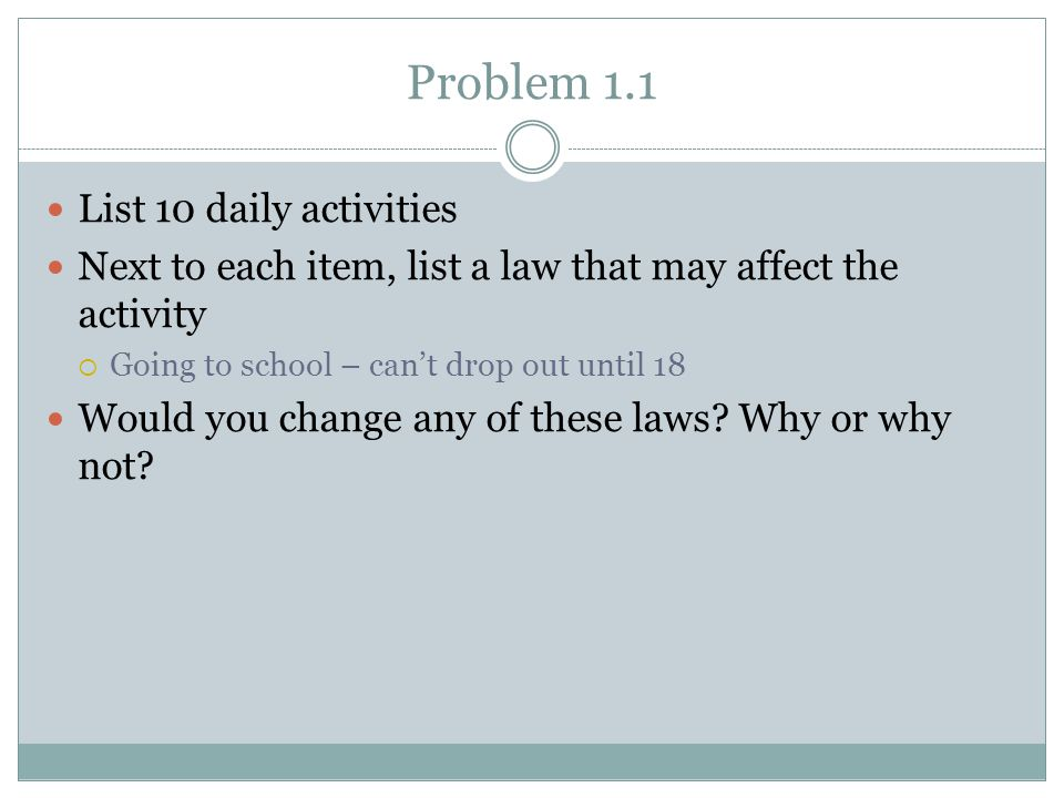 Problem 1.1 List 10 daily activities