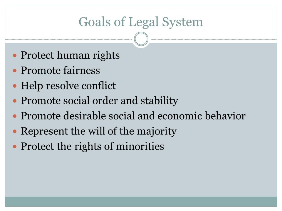 Goals of Legal System Protect human rights Promote fairness