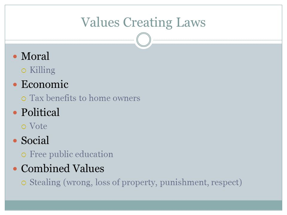 Values Creating Laws Moral Economic Political Social Combined Values