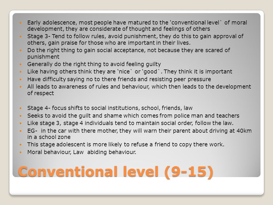 Conventional level (9-15)
