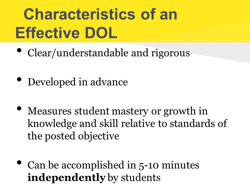 Characteristics of an Effective DOL