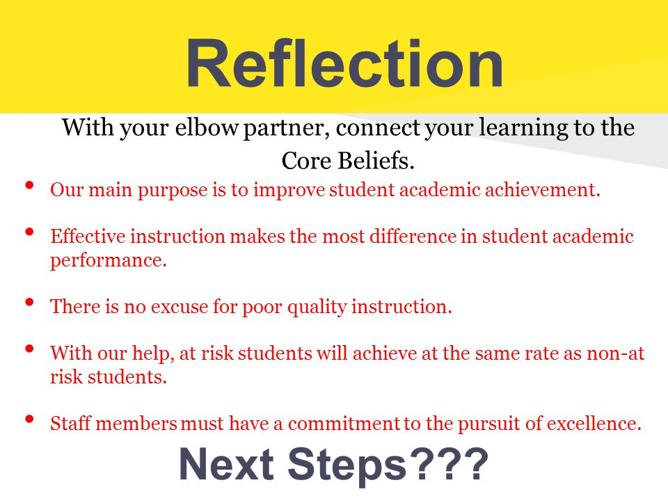 With your elbow partner, connect your learning to the Core Beliefs.
