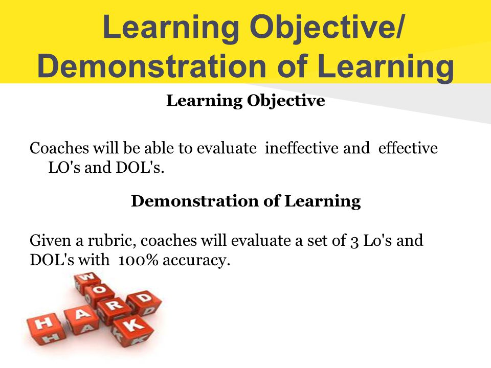 Learning Objective/ Demonstration of Learning