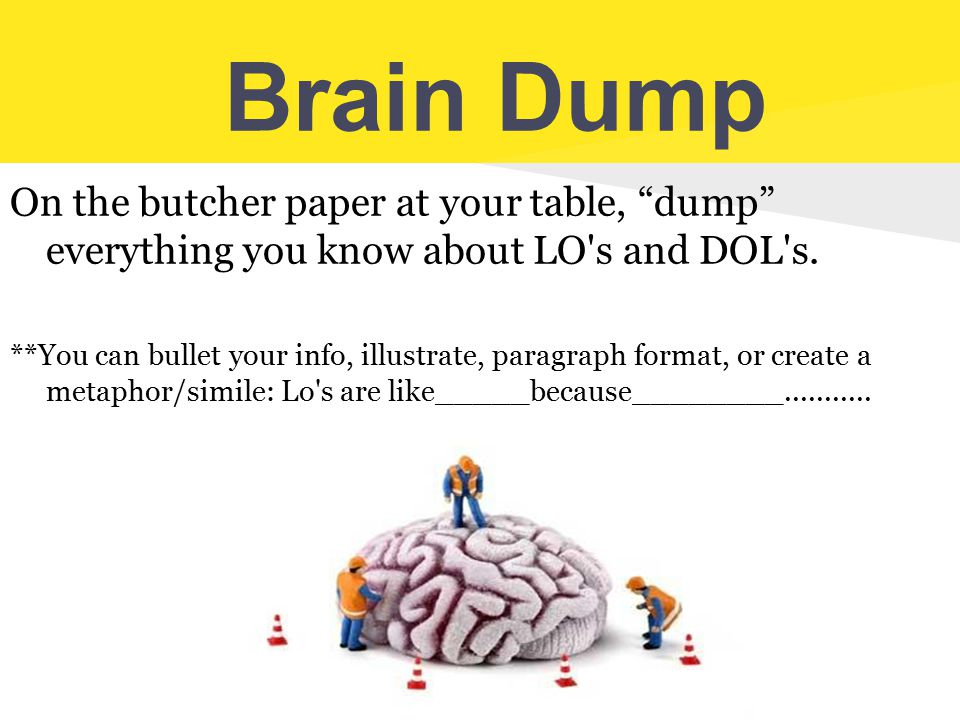 Brain Dump On the butcher paper at your table, dump everything you know about LO s and DOL s.