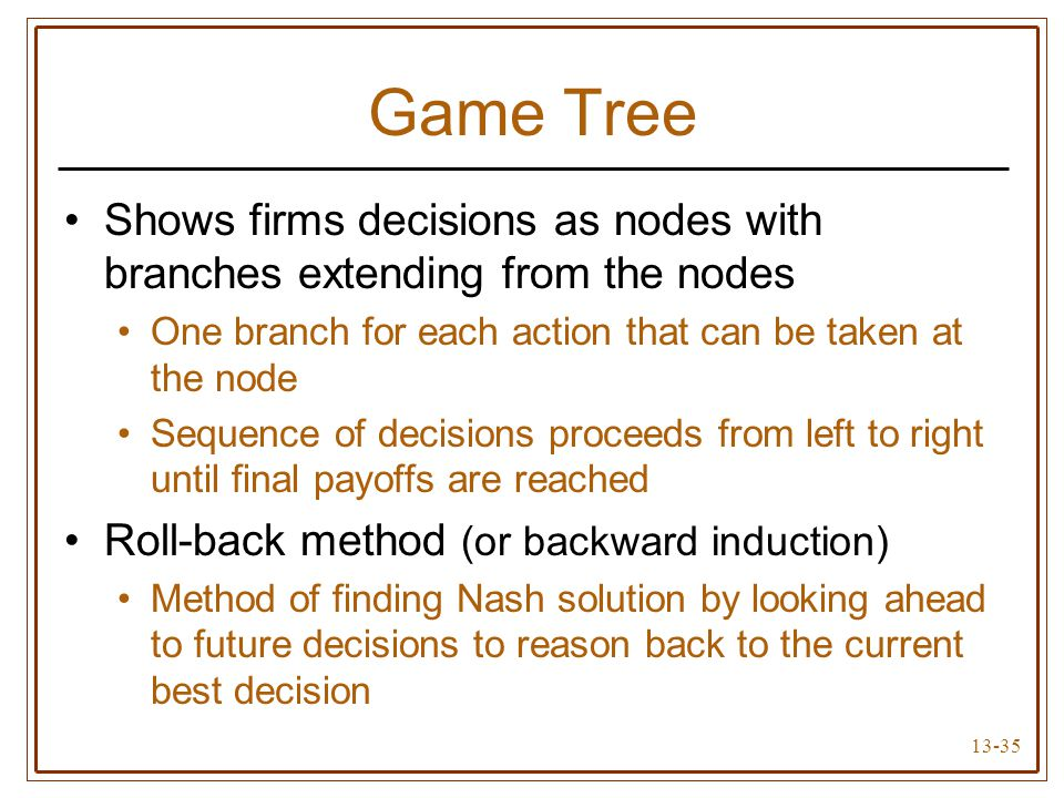 Game Tree Shows firms decisions as nodes with branches extending from the nodes. One branch for each action that can be taken at the node.