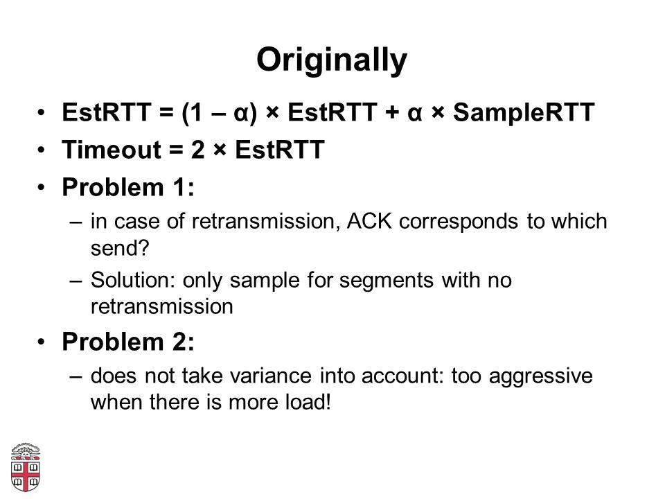 Originally EstRTT = (1 – α) × EstRTT + α × SampleRTT
