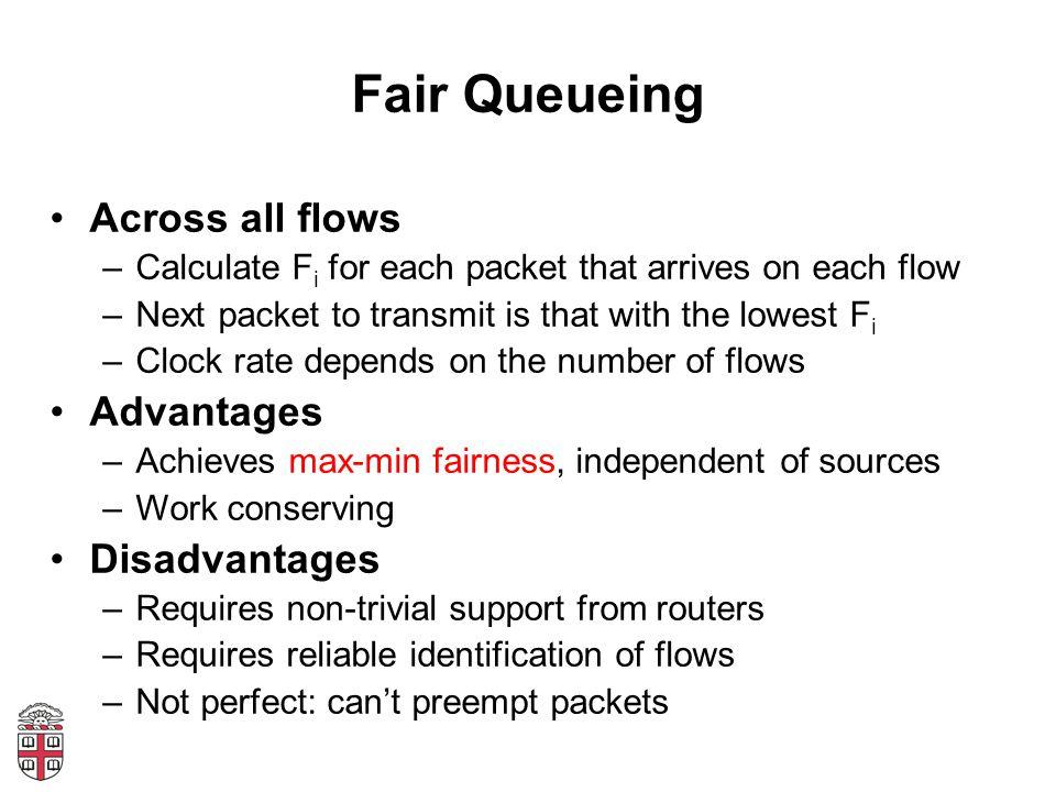 Fair Queueing Across all flows Advantages Disadvantages