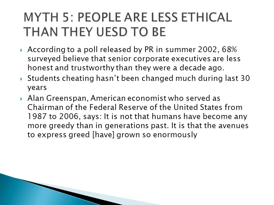 MYTH 5: PEOPLE ARE LESS ETHICAL THAN THEY UESD TO BE