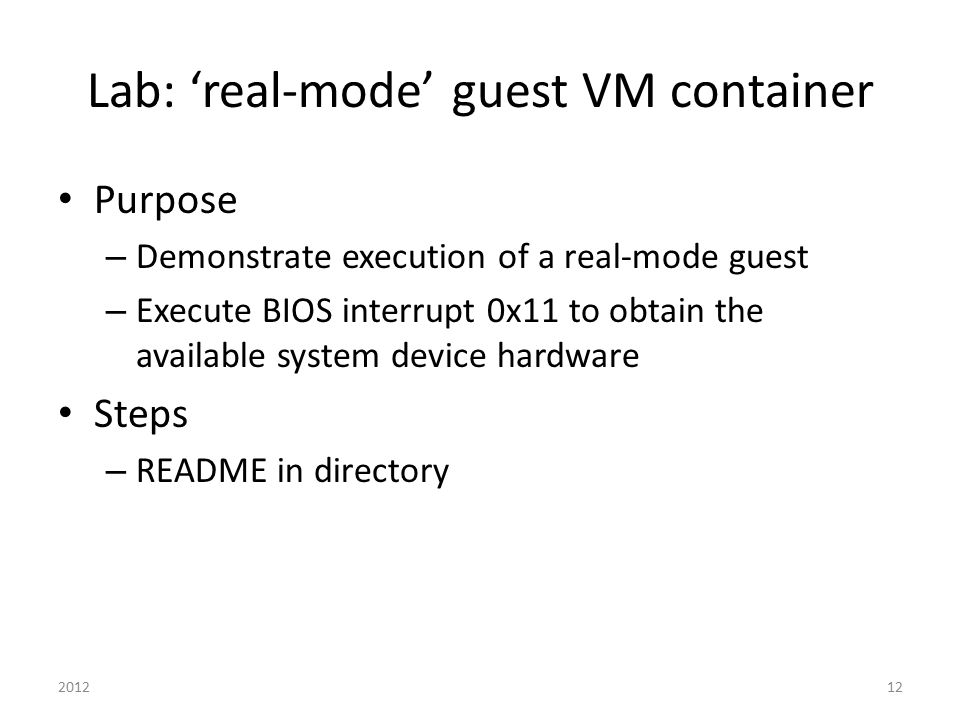 Lab: 'real-mode' guest VM container