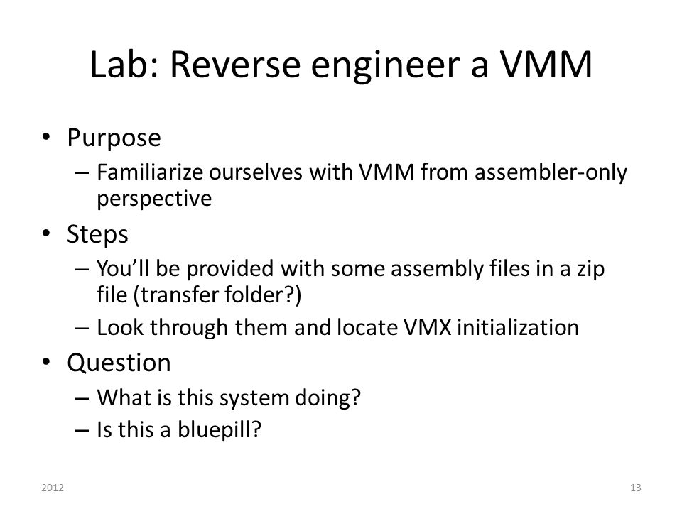 Lab: Reverse engineer a VMM
