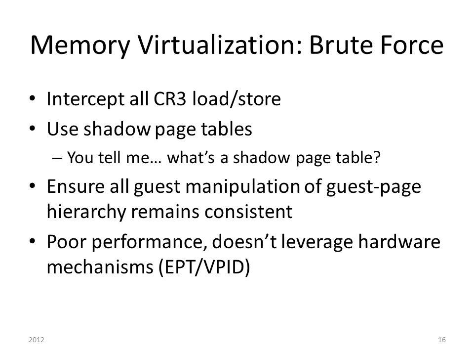 Memory Virtualization: Brute Force