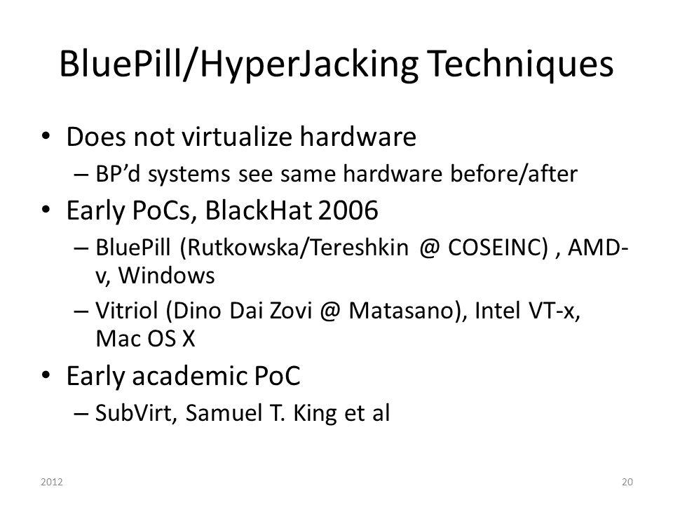 BluePill/HyperJacking Techniques