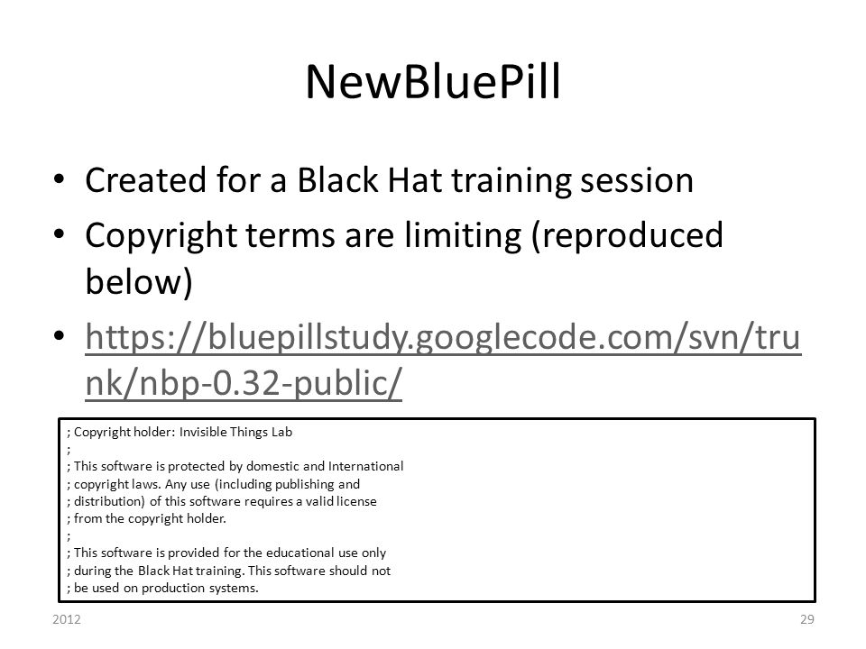 NewBluePill Created for a Black Hat training session