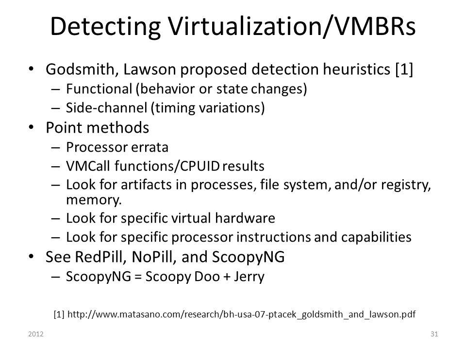 Detecting Virtualization/VMBRs