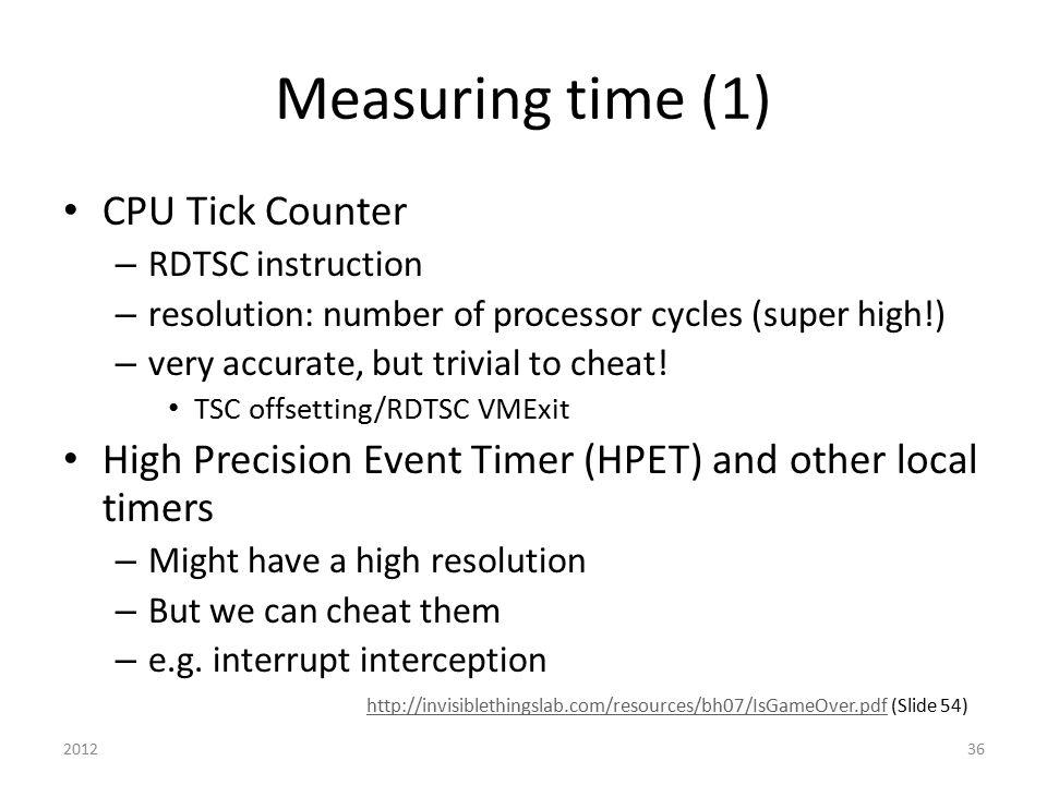 Measuring time (1) CPU Tick Counter