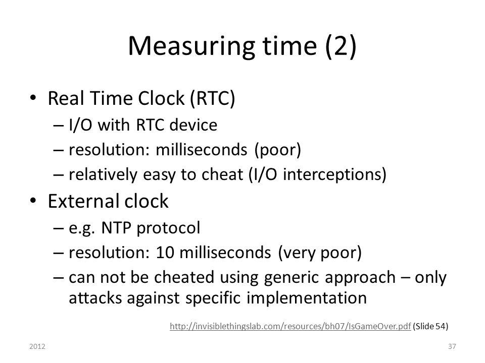 Measuring time (2) Real Time Clock (RTC) External clock