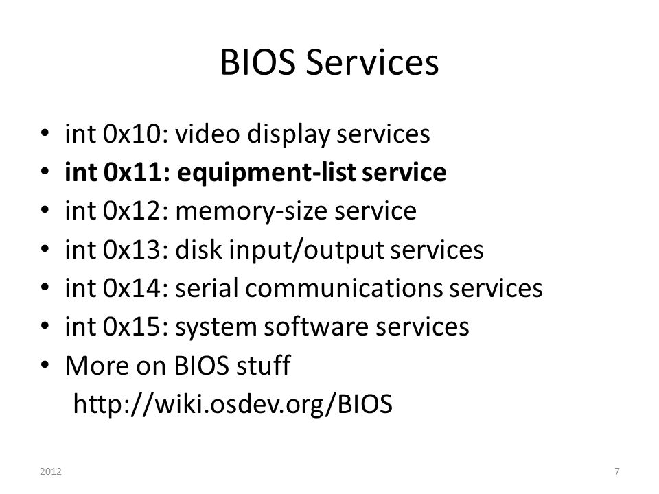 BIOS Services int 0x10: video display services