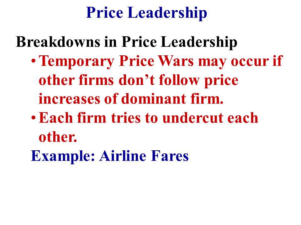 Price Leadership Breakdowns in Price Leadership