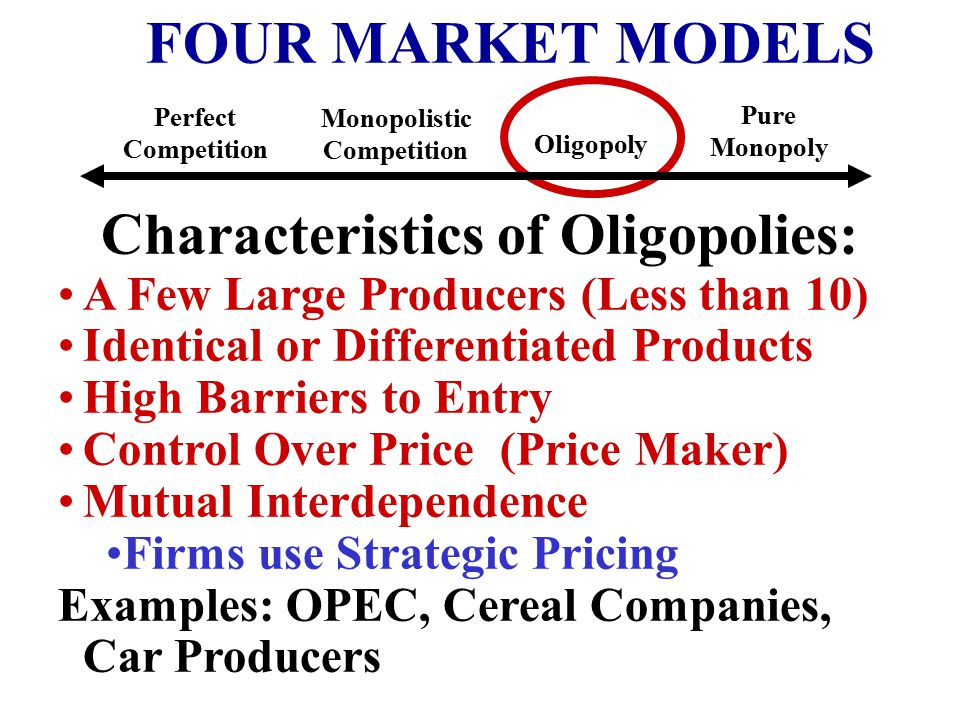 Characteristics of Oligopolies: