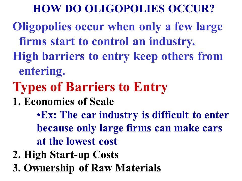 HOW DO OLIGOPOLIES OCCUR