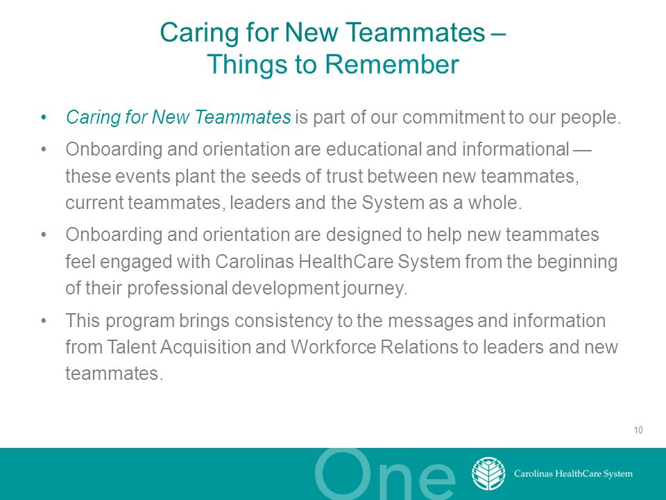 Caring for New Teammates – Things to Remember