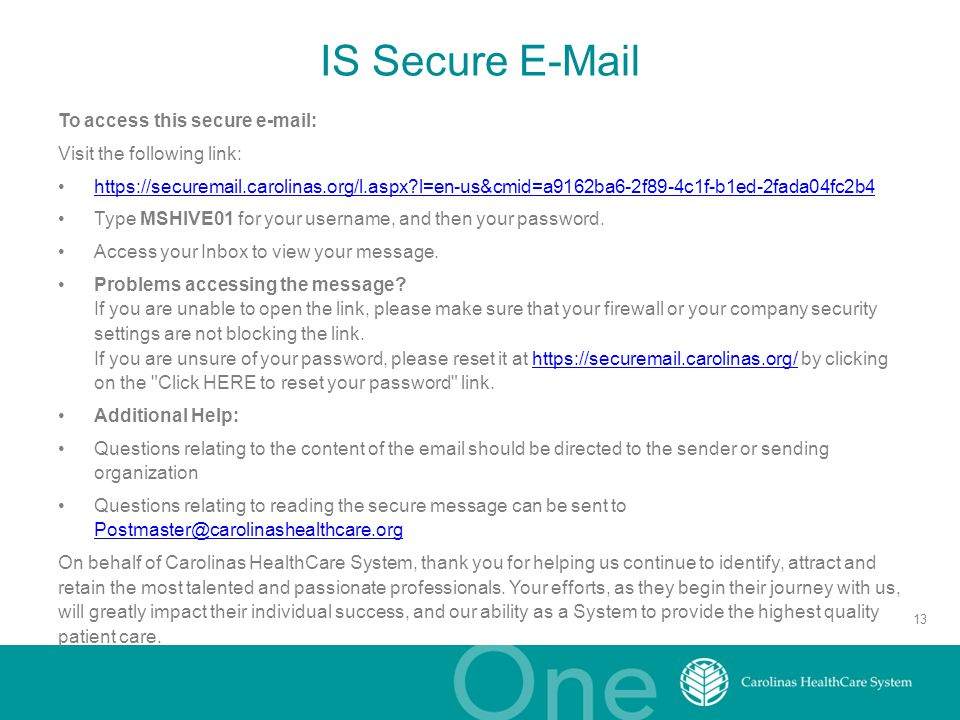 IS Secure E-Mail To access this secure e-mail: