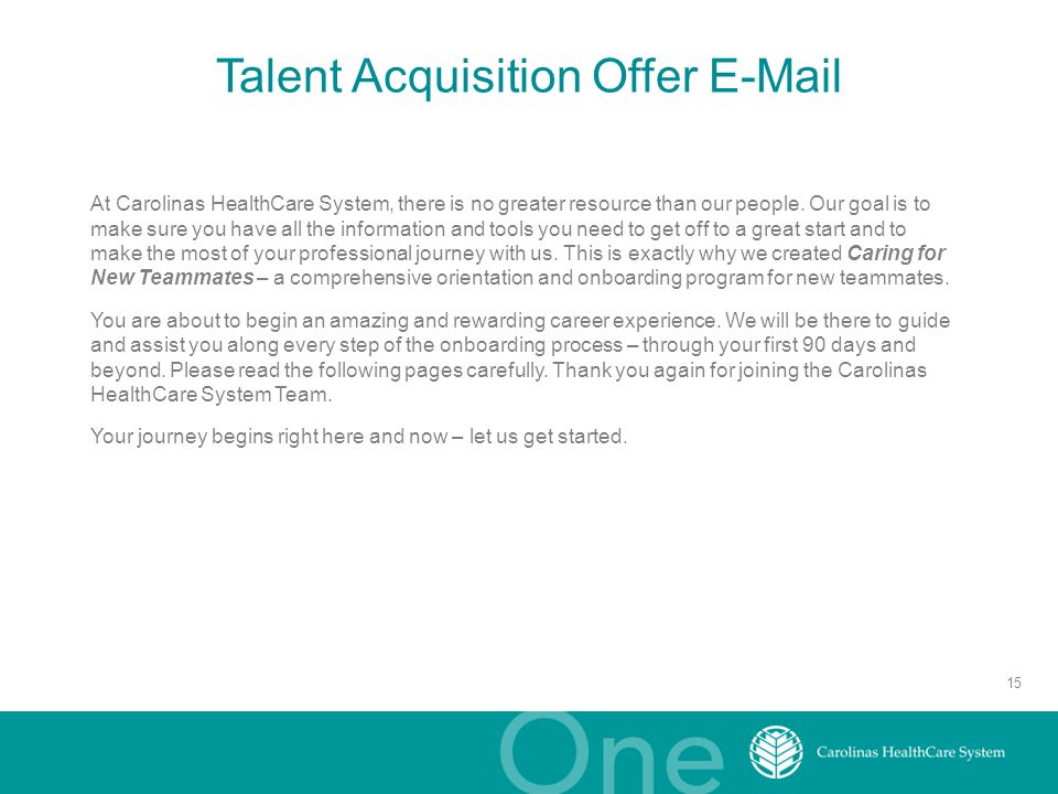 Talent Acquisition Offer E-Mail