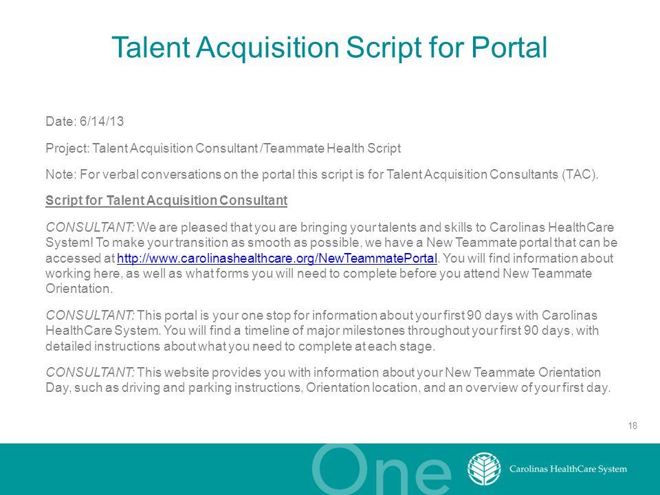 talent acquisition script for portal - Talent Acquisition Consultant