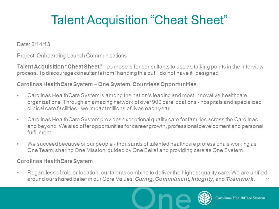 Talent Acquisition Cheat Sheet
