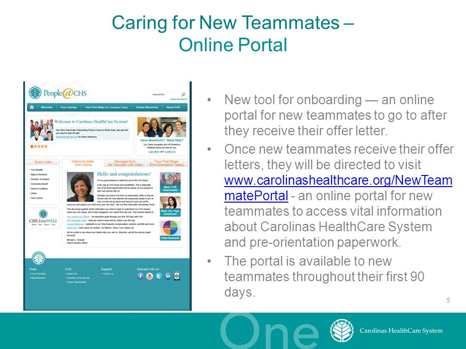 Caring for New Teammates – Online Portal