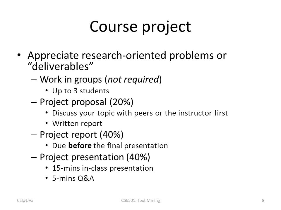Course project Appreciate research-oriented problems or deliverables
